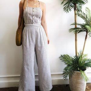 Pants - 🆕Parker Striped Linen Open Back Wide Leg Jumpsuit